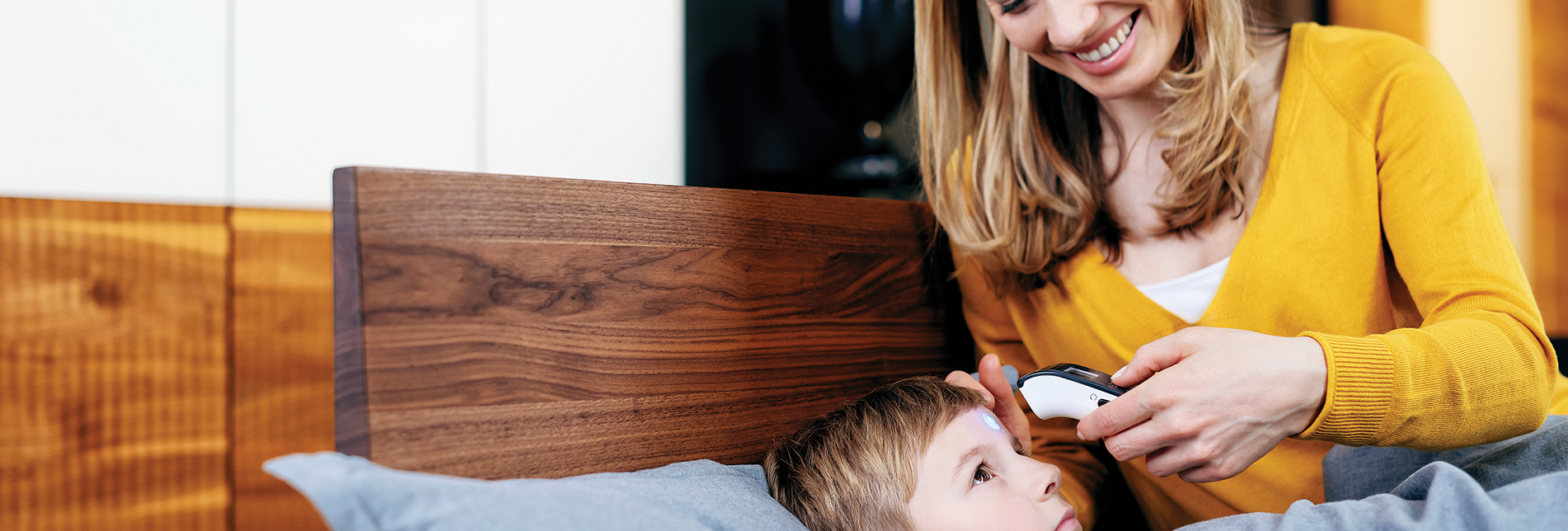 "The Microlife NC 150 BT thermometer connects to the ""Microlife Connected Health +"" app by using Bluetooth® Smart and enables easy monitoring of the temperature."